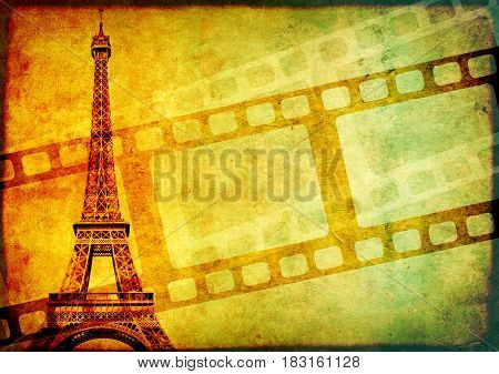 Grunge background with retro filmstrips, famous landmark of Paris - Eiffel Tower, and old paper texture