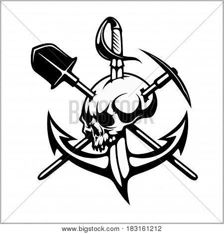 Emblem of treasure hunters, heraldic sign - treasure hunter, vector for print or design isolated on white