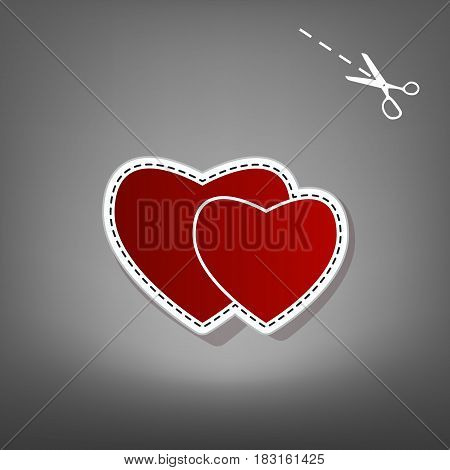 Two hearts sign. Vector. Red icon with for applique from paper with shadow on gray background with scissors.