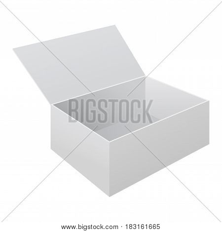 White open paper box. Vector illustration isolated on white background