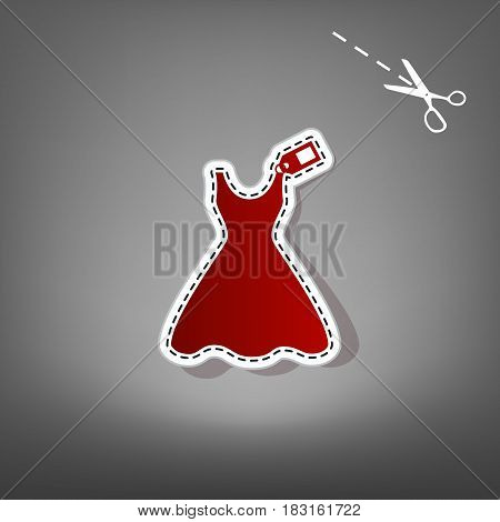 Woman dress sign with tag. Vector. Red icon with for applique from paper with shadow on gray background with scissors.
