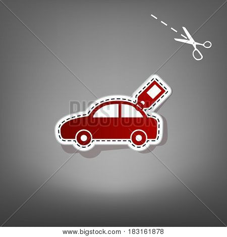 Car sign with tag. Vector. Red icon with for applique from paper with shadow on gray background with scissors.