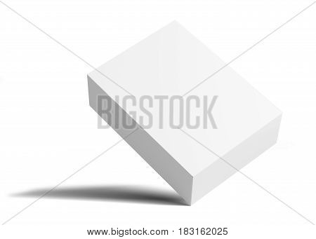White Blank packaging cardboard box is tilted. Isolated on white background. 3D illustration