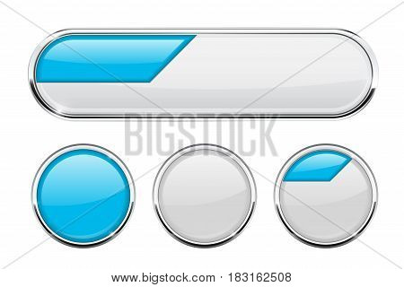 White and blue buttons. Vector 3d illustration on black background
