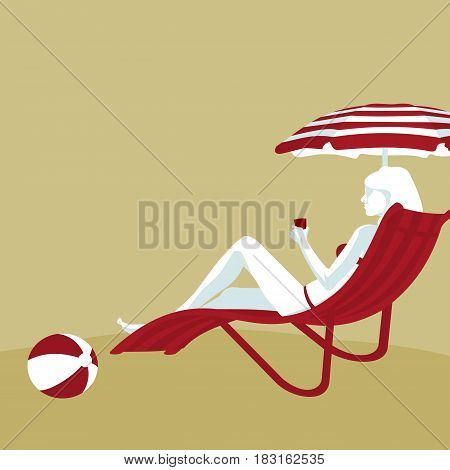 flat illustration of a girl on a sun lounger in vector formatconcept of a set of security services