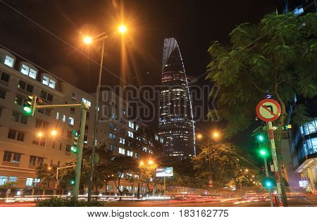 HO CHI MINH CITY VIETNAM - NOVEMBER 28, 2016: Bitexco Tower. Bitexco Tower is a 68 storey 262.5 m skyscraper built in 2011