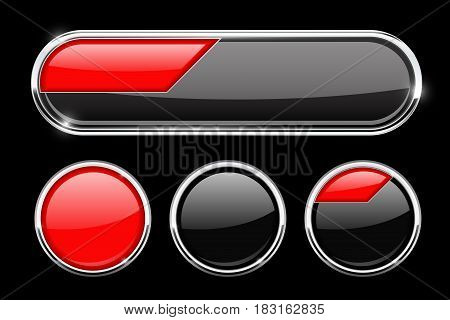 Black and red buttons. Vector 3d illustration on black background