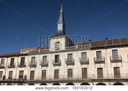 Leon (Castilla y Leon Spain): historic buildings in Plaza Mayor the main square of the city