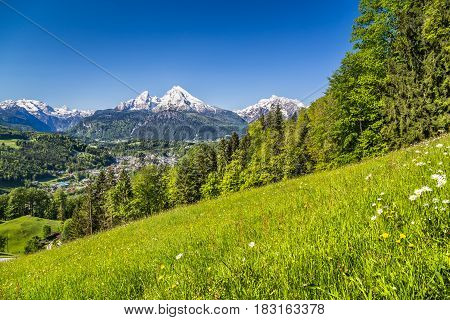 Panoramic view of beautiful landscape in the Bavarian Alps with famous Watzmann mountain in the background in springtime Nationalpark Berchtesgadener Land Bavaria Germany