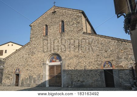Agliate Brianza (Monza Lombardy Italy): facade of the medieval church of Saints Peter and Paul built from the 11th century