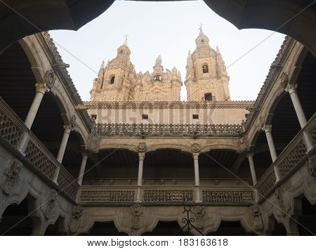 SALAMANCA, SPAIN - JULY 24, 206: Salamanca (Castilla y Leon Spain): courtyard of the historic palace known as Casa de las Conchas