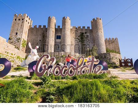 OBIDOS PORTUGAL - APRIL 02 2017: XV International Chocolate Festival in Obidos Portugal.