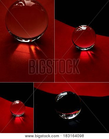 Glass globe or drop of water on a background of red and black velvet paper. Clean and Shine