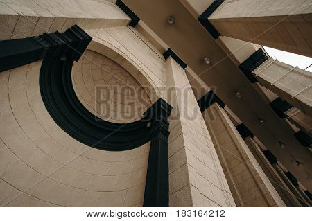 Romantic castle architecture. Architectural arch. Bottom view. Abstract architecture.