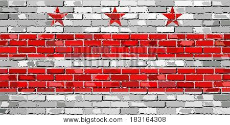 Flag of Washington, D.C. on a brick wall - Illustration