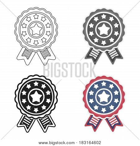 Vote emblem icon in cartoon style isolated on white background. Patriot day symbol vector illustration.