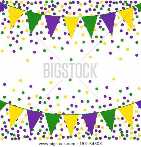 Mardi Gras background with beads and flags. Vector illustration