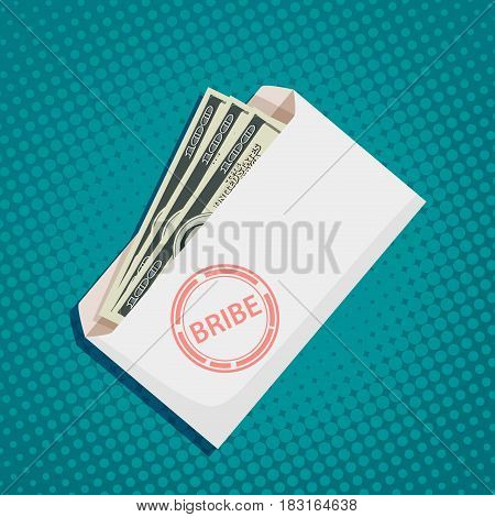 Envelope with dollar banknotes. Bribery and corruption. Stock vector illustration.