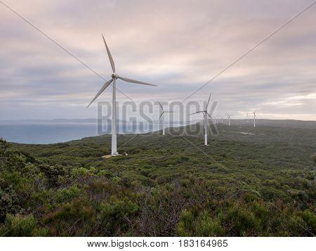 Albany wind farm at sunset, Western Australia