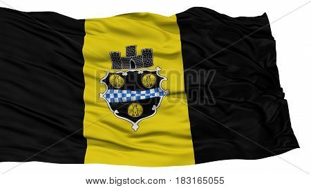 Isolated Pittsburgh City Flag, City of Pennsylvania State, Waving on White Background, High Resolution