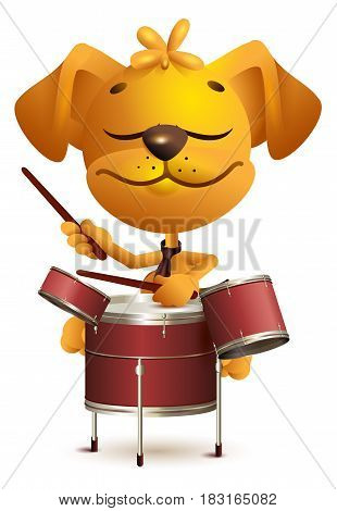 Yellow fun dog Drummer beats drums. Isolated on white vector cartoon illustration