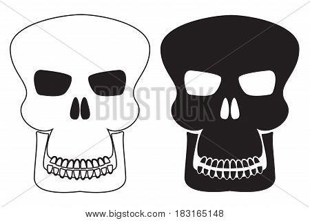 Skull. Icons. Vector illustration isolated on white background