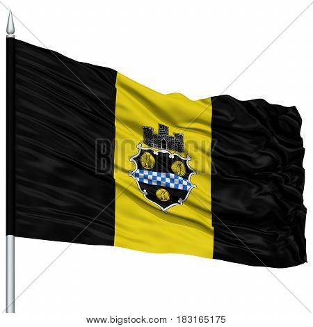 Pittsburgh City Flag on Flagpole, Pennsylvania State, Flying in the Wind, Isolated on White Background