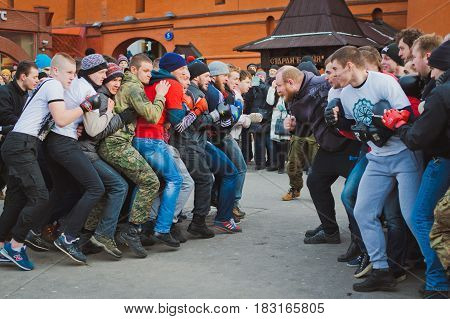 Russia. Moscow. Red Square. February 26, 2017. mass brawl of hooligans and fans in the center of Moscow