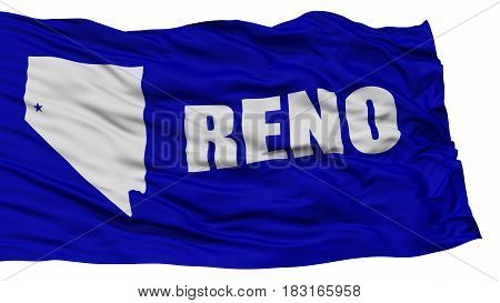 Isolated Reno City Flag, City of Nevada State, Waving on White Background, High Resolution