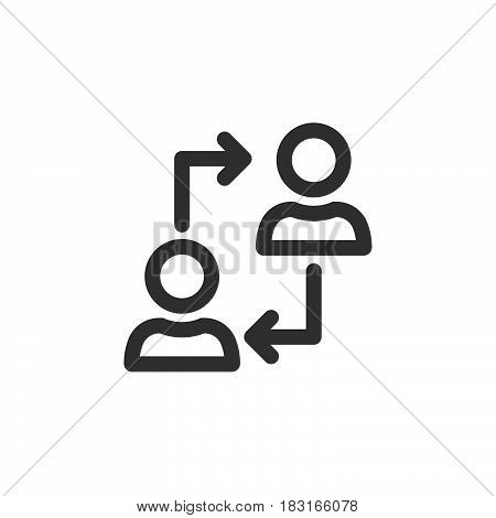 Human Resources Symbol. Users With Arrows Line Icon, Outline Vector Logo Illustration, Linear Pictog
