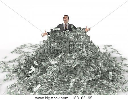 businessman in a heap of money, 3d illustration