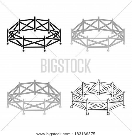 Paddock icon in cartoon design isolated on white background. Hippodrome and horse symbol stock vector illustration.