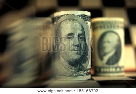 The banknote  dollars on a grey background