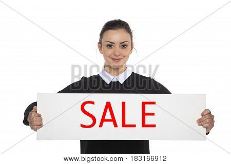 Beautiful Cheerful Woman Holding A Blank Billboard, With The Word Sale