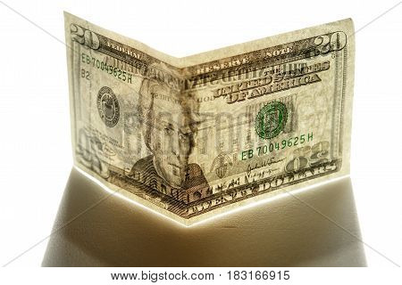 the a banknote isolated on a white background