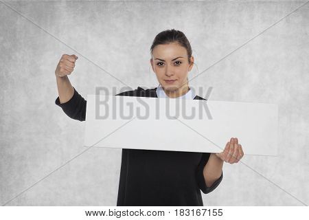Beautiful Woman Holding A Blank Wooden Plate