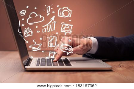 An elegant businessman sitting at desk and pushing the buttons of his laptop keyboard while working on everyday office tasks illustration concept