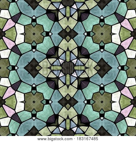 mosaic kaleidoscope seamless pattern texture background - full colored with black grout