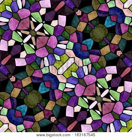 mosaic kaleidoscope seamless pattern texture background - full multi color colored with black grout