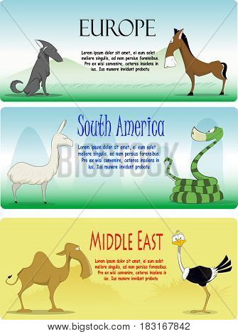 Set of vector cartoon animals from differnt continents. Vector illustrations. Second set from three