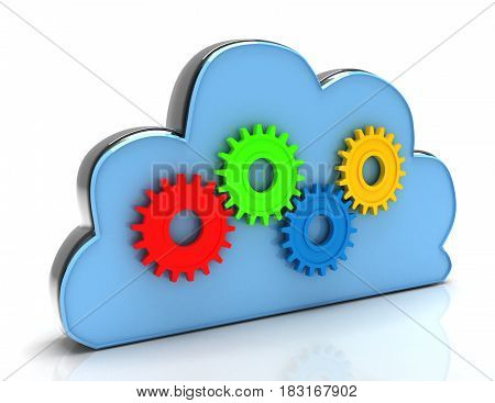 Cloud Computing With Metal Gears In The Design Of Information Related To Computer Technology. 3D Ren