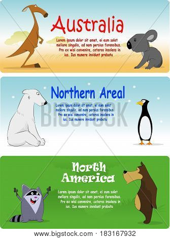 Set of animals from different side of world. Vector illustration. Third set form three