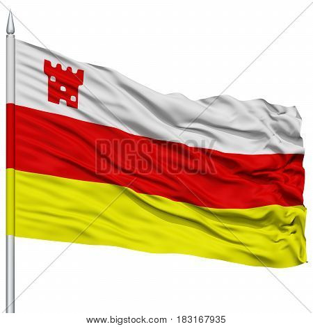 Santa Barbara City Flag on Flagpole, California State, Flying in the Wind, Isolated on White Background