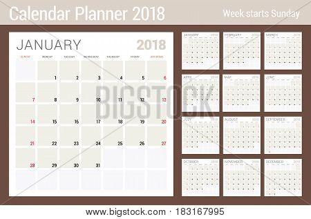 Calendar Planner Design Template For 2018 Year. Week Starts On Sunday. Stationery Design. Set Of 12