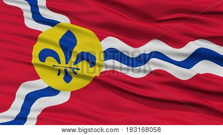 Closeup of St. Louis City Flag, Waving in the Wind, Missouri State, United States of America