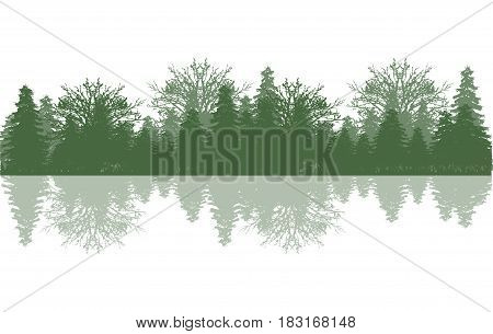 Silhouette wood and tree on white background is insulated
