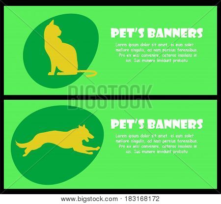 Two banners with cat and dog silhouette, Vector pets for your design.