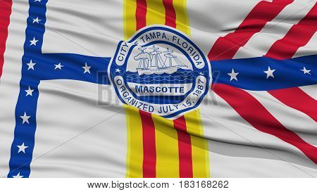 Closeup of Tampa City Flag, Waving in the Wind, Florida State, United States of America
