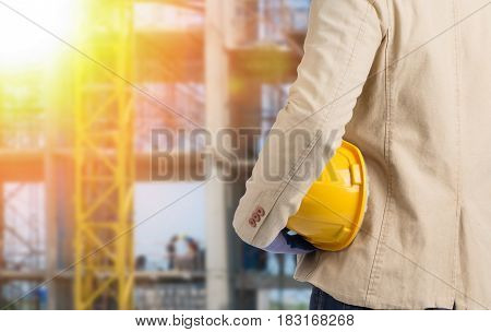 Constuction Manager Holding Safety Helmet Looking At Him Construction Works