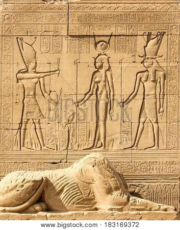 Temple of Hathor Dendera Cleopatra and Caesar Osiris wall luxor Egypt Signs and symbols